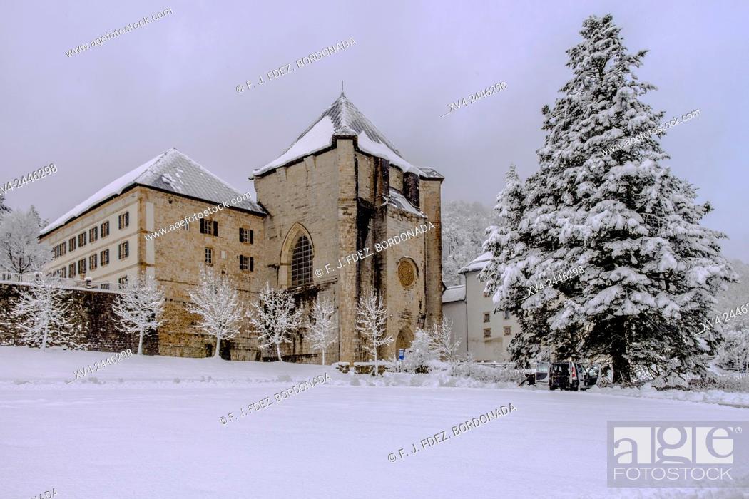 Stock Photo: Orreaga Roncesvalles snowed in winter. Navarre, Spain.