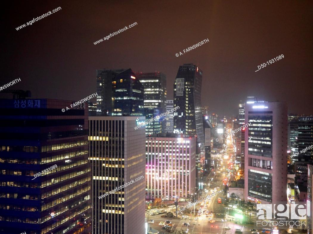 Stock Photo: SEOUL SOUTH KOREA City scape at night.
