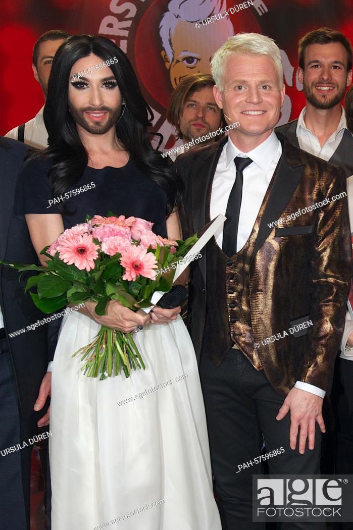 Austrian singer Conchita Wurst and television host Guido