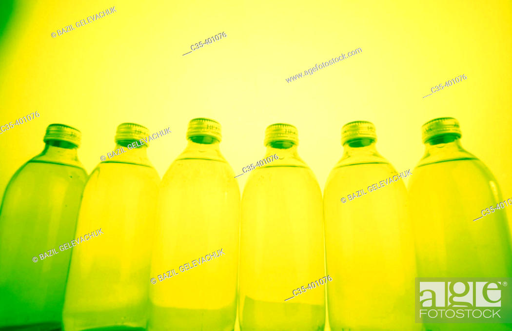 Stock Photo: Mineral water, glass bottles.