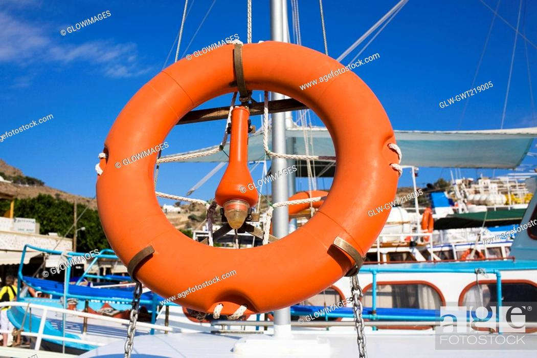 Stock Photo: Life belt on a boat, Patmos, Dodecanese Islands, Greece.
