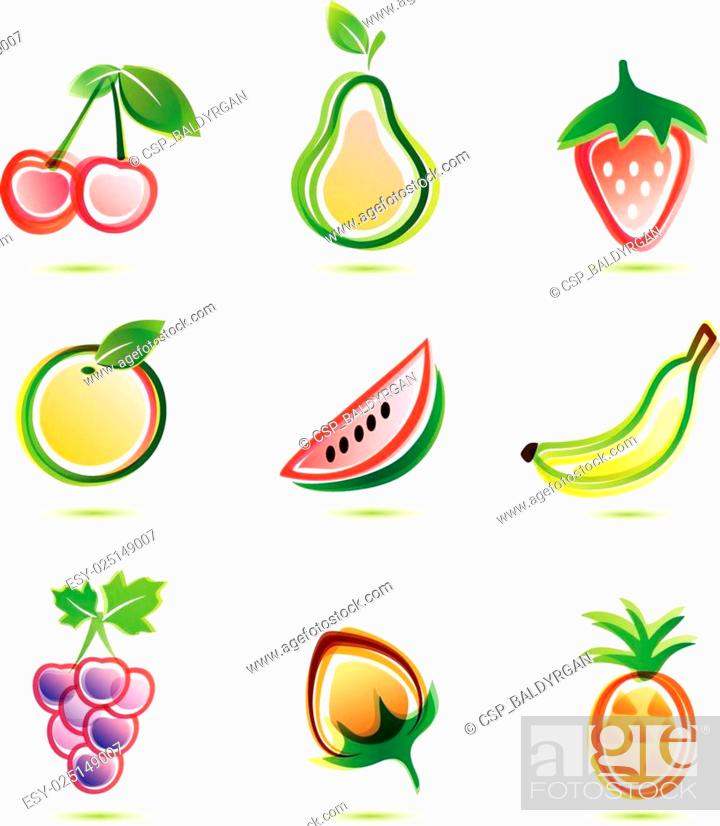 Stock Vector: green fruits icons set.