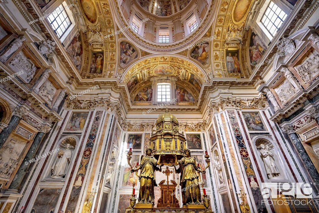 Stock Photo: Tabernacle Containing Consecrated Eucarist Dome Basilica Santa Maria Maggiore Rome Italy. One of 4 Papal basilicas, built 422-432, built in honor of Virgin Mary.