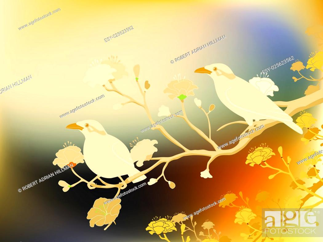 Stock Vector: Editable vector illustration of a pair of endangered hill myna birds made with a gradient mesh.