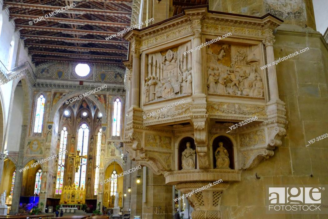 Stock Photo: The pulpit in the basilica of Santa, Florence, Tuscany, Italy, Europe.