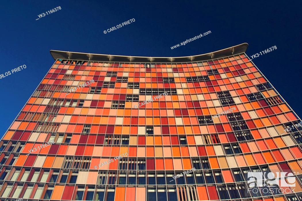 Stock Photo: The GSW Tower, standing in the middle of Berlin's old newspaper district, was designed by the Anglo-German tandem of Mathias Sauerbruch and Louisa Hutton.