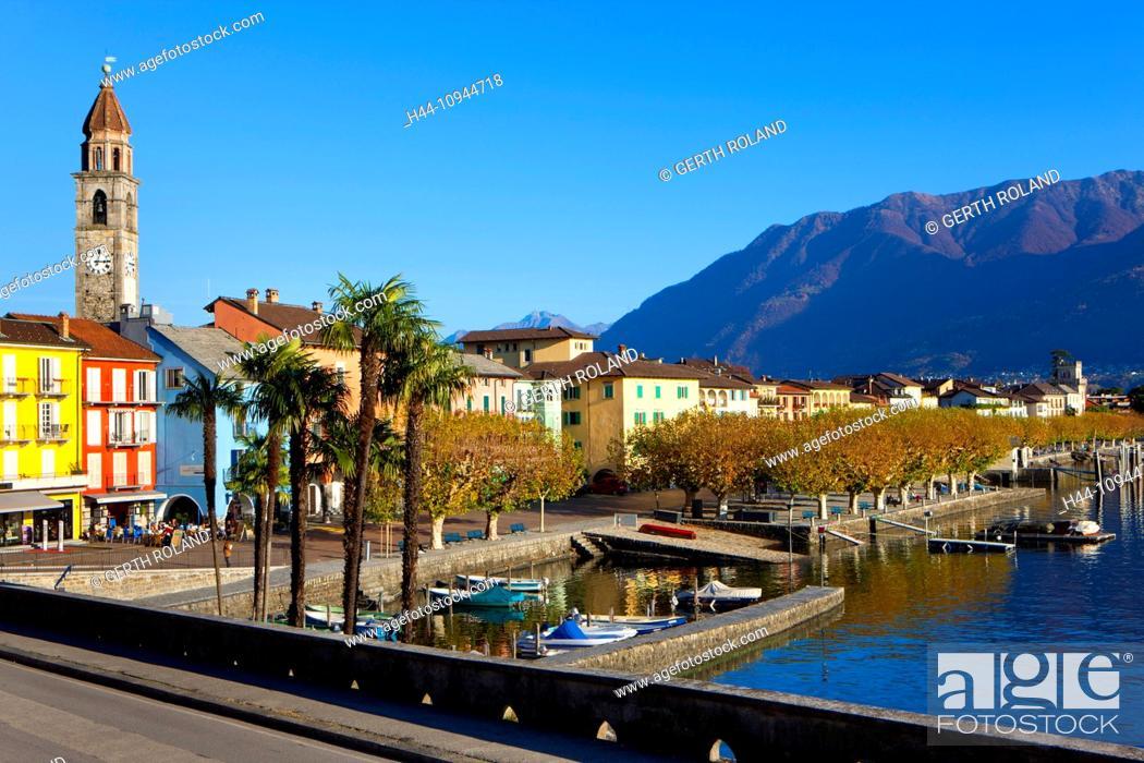 Stock Photo: Ascona, Switzerland, Europe, canton, Ticino, Lago Maggiore, houses, homes, harbour, port, boats, church, bank promenade, palms.