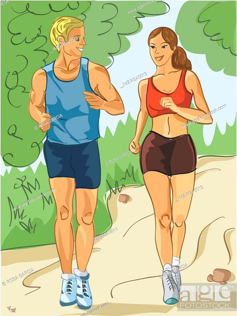 Stock Photo: couple jogging through the park.