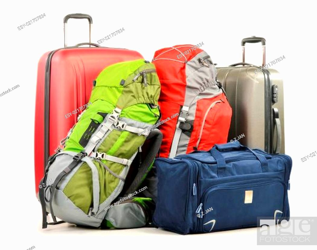 Stock Photo: Luggage consisting of large suitcases rucksacks and travel bag.
