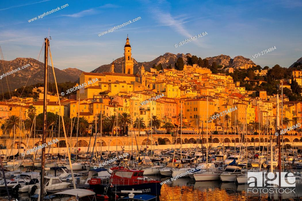 Imagen: Marina and Old Town with the Basilique of Saint Michel Archange. Menton. Provence Alpes Cote d'Azur. French Riviera. Mediterranean Sea. France. Europe.