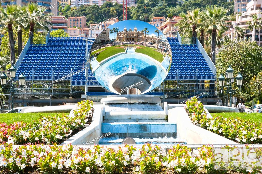 Stock Photo: Monte Carlo Casino in Skyway Mirror, Monaco, sovereign city-state, French Riviera, Western Europe.