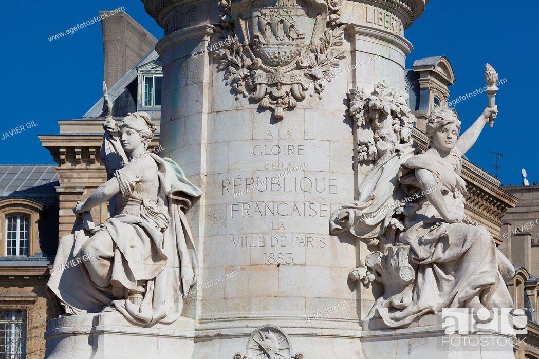 """Stock Photo: """"""""""""""""""""Republique"""""""" in Paris, Ile de France, France."""