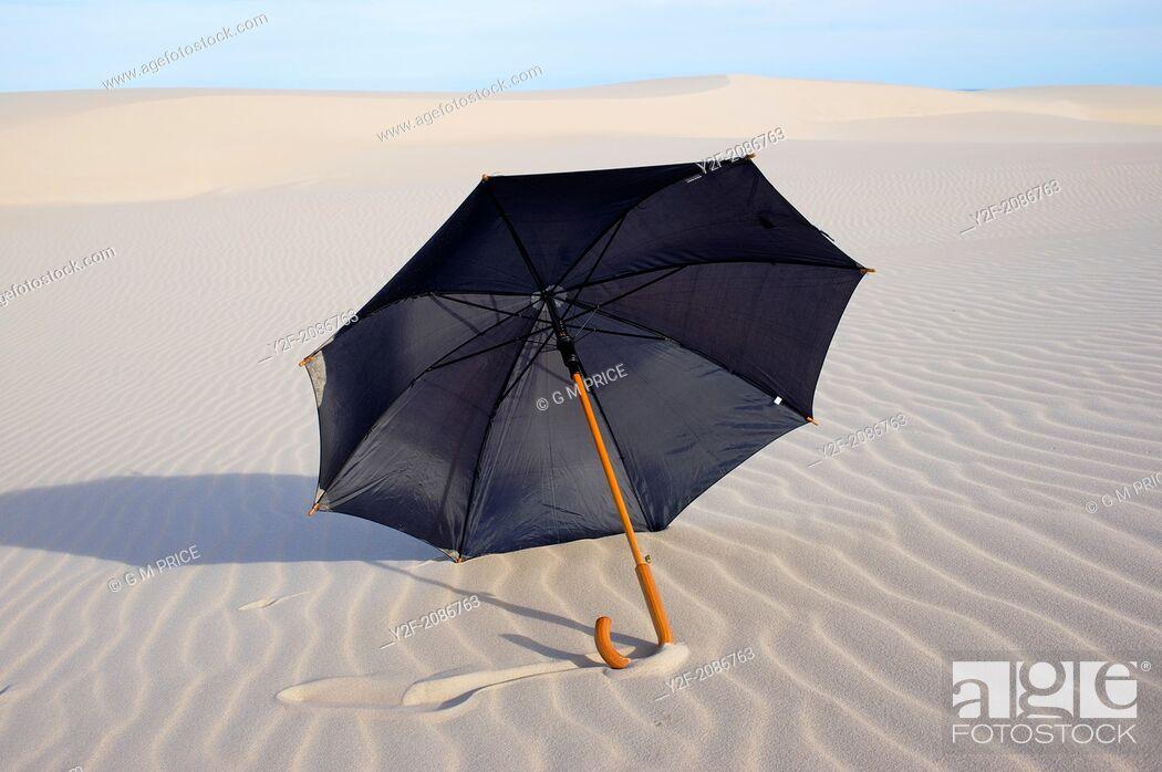 Stock Photo: black rain umbrella on sand dunes, NSW coast, Australia.