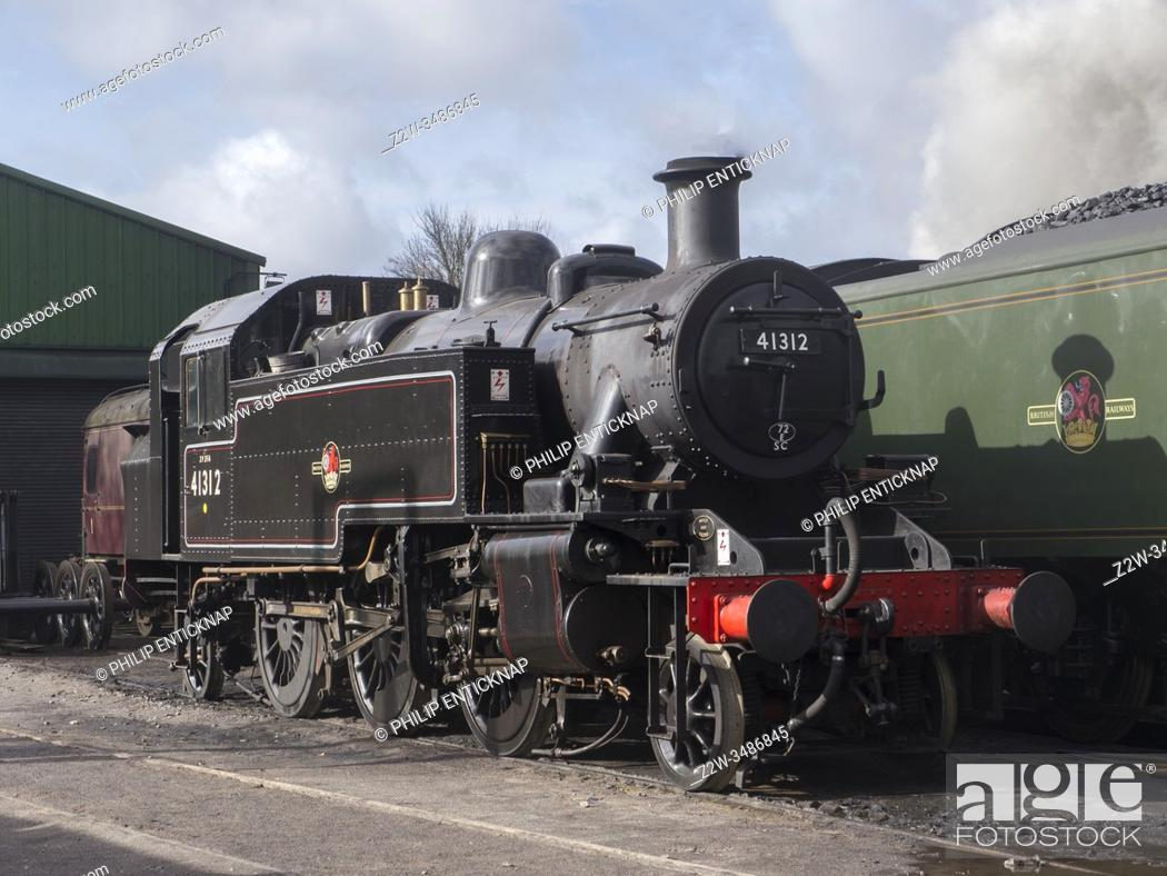 Stock Photo: LMS Ivatt Class 2MT 41312 Steam Locomotive seen at The Mid Hants Heritage Railway also known as â. œ The Watercress Line â.