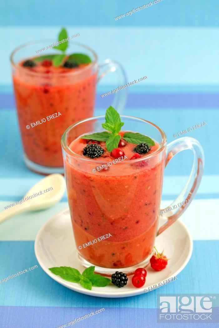 Stock Photo: Wild berries gazpacho.