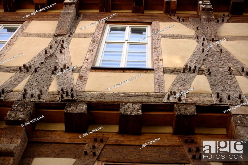 Photo de stock: Detail of a half-timbered house, Buergeramt, citizen centre, Tuebingen, Baden-Wuerttemberg, Germany, Europe.