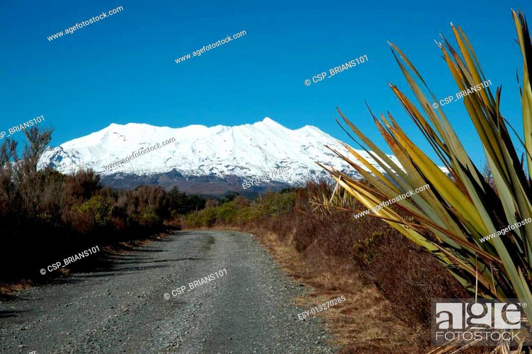 Stock Photo: Gravel road leading to the mountain.