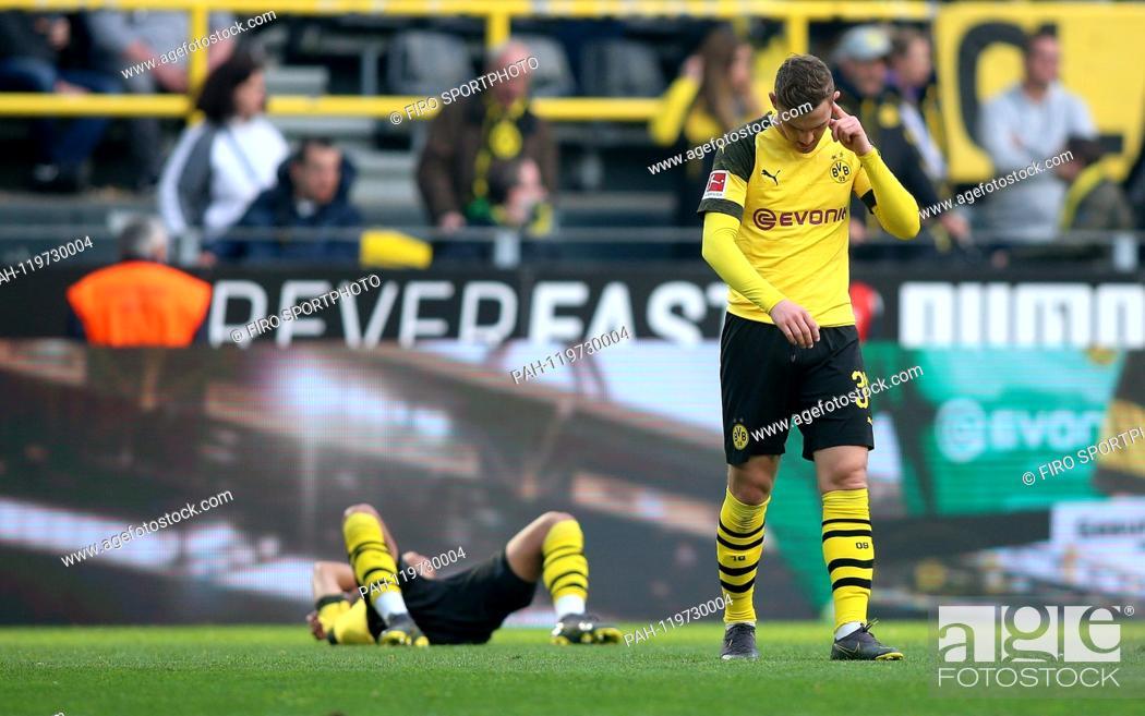 Stock Photo: firo: 27.04.2019, football, 1.Bundesliga, season 2018/2019, BVB, Borussia Dortmund - FC Schalke 04, final jubilation, exhaustion, facial expressions.