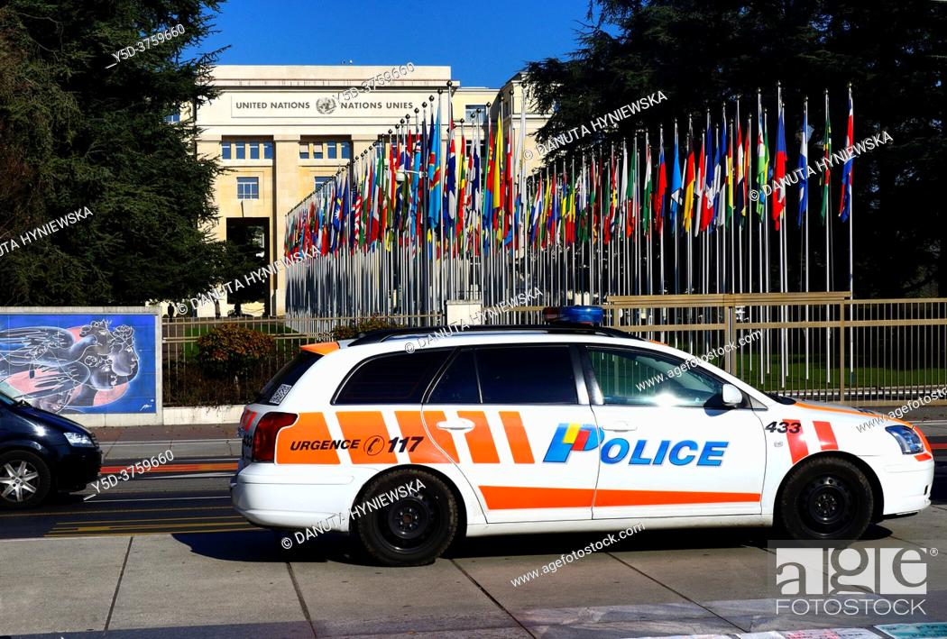 Stock Photo: police car in front of Palace of Nations in Geneva, on left part of huge fresco by Hans Erni dedicated to freedom and peace, Switzerland, Europe.