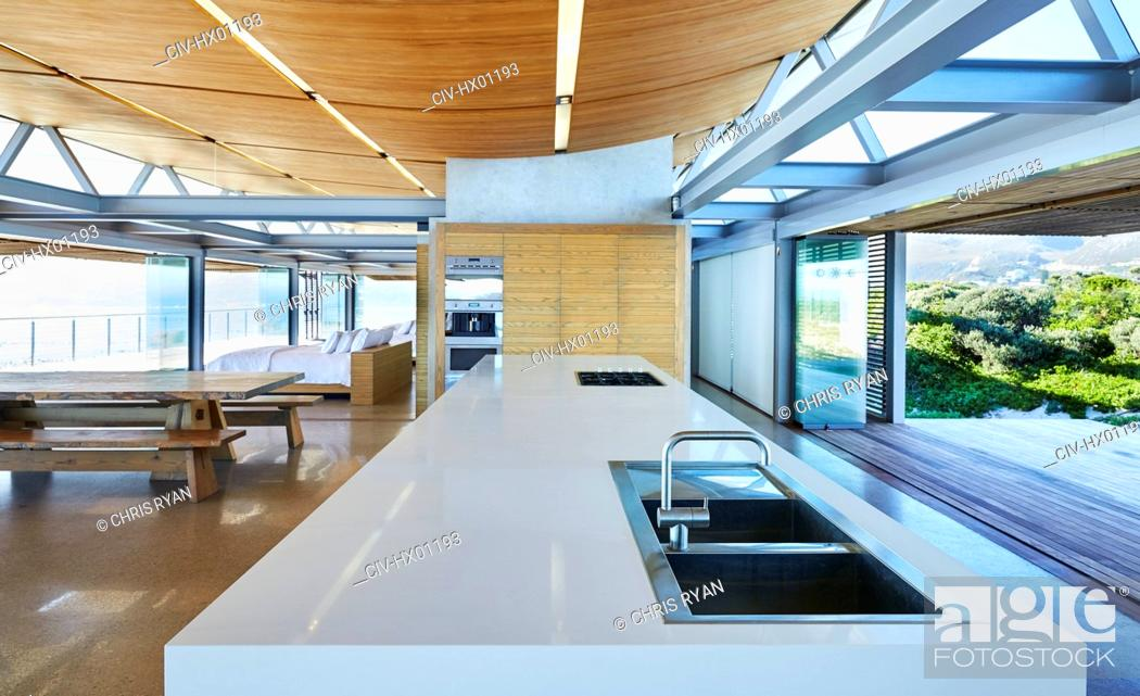 Stock Photo: Modern luxury home showcase kitchen.
