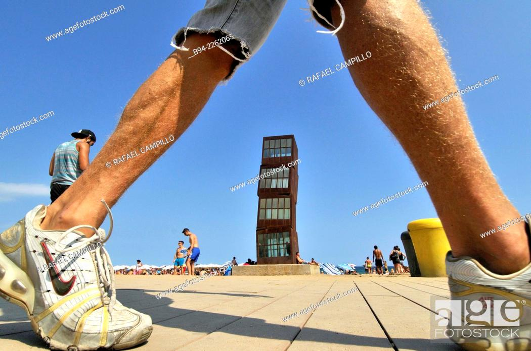 Stock Photo: Sculpture 'The wounded star' L'estel ferit by Rebecca Horn at Barceloneta beach, 1992. Barcelona, Catalonia, Spain.