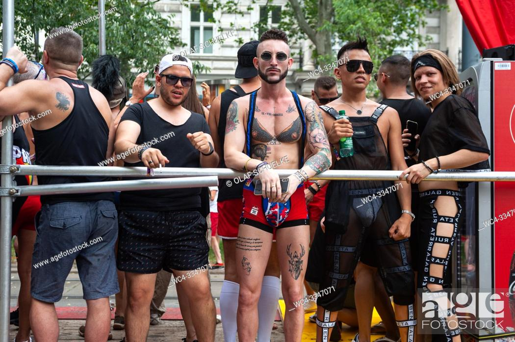 Stock Photo: Vienna, Austria, Europe - Gay participants at the Euro Pride Parade along Ringstrasse in central Vienna.