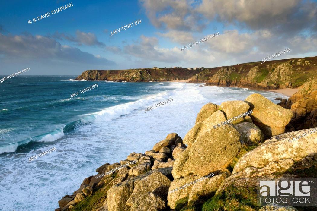 Stock Photo: Logan Rock. Porthcurno - Cornwall - UK.