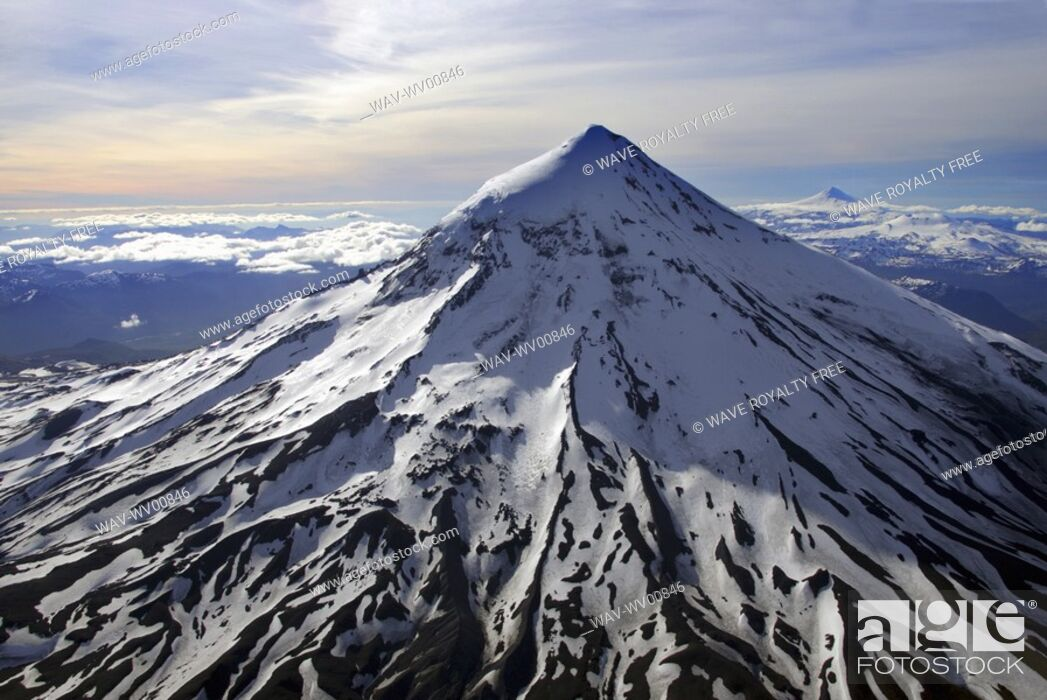 Stock Photo: Helicopter view of Lanin Volcano 3747 m, Argentina.
