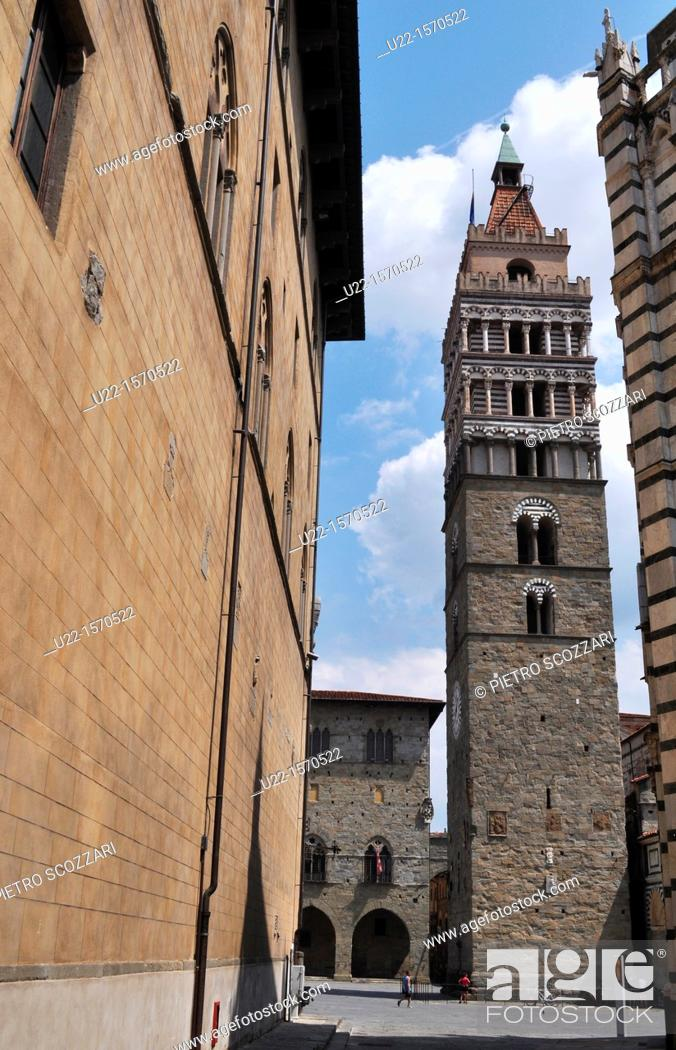 Stock Photo: Pistoia (Italy): San Zeno Cathedral's bell-tower.