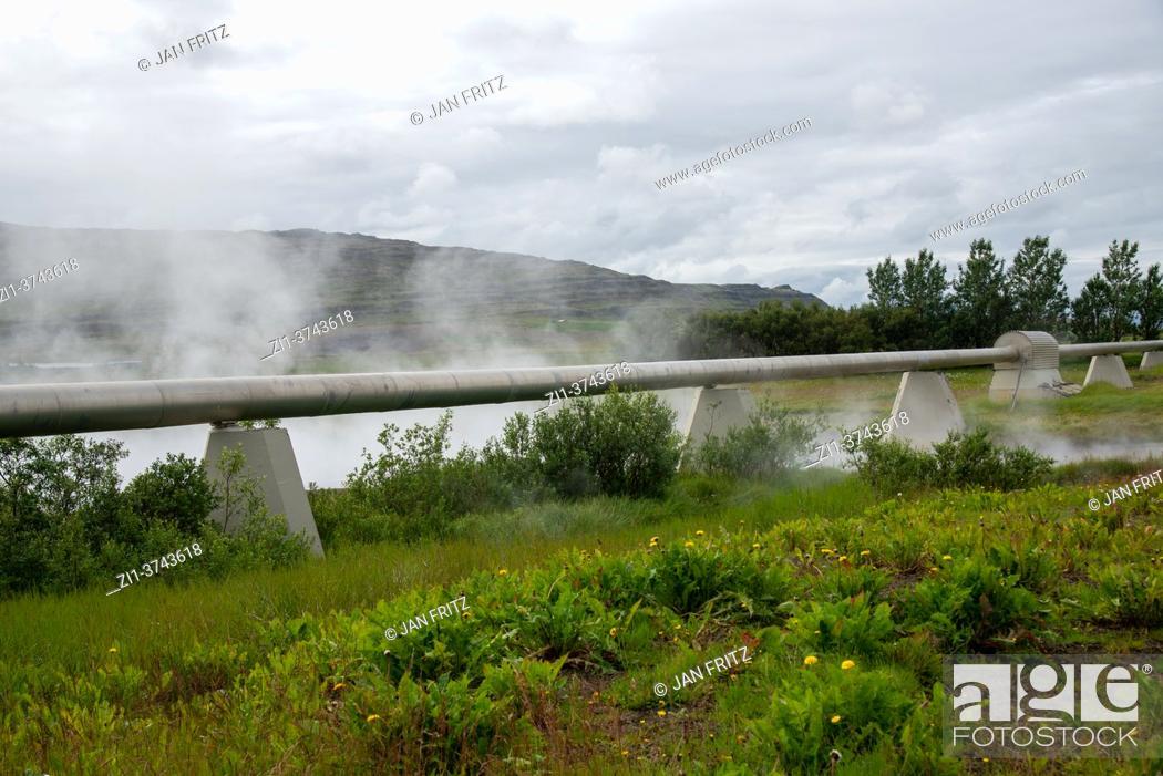 Photo de stock: hot water pipelines at Deildartunguhver at Iceland.