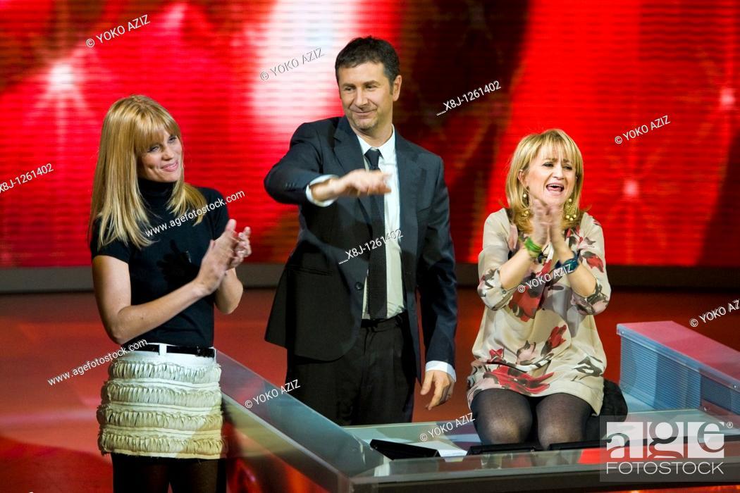 Imagen: 21 11 2010, Che tempo che fa, RAI 3, Milan  Luciana Littizzetto, Fabio Fazio and Filippa Lagerback.