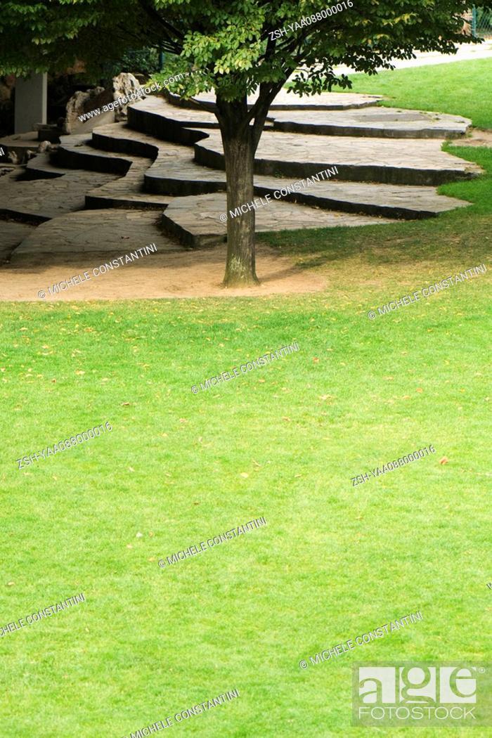 Stock Photo: France, Paris, Buttes Chaumont park, terraced landscaping.