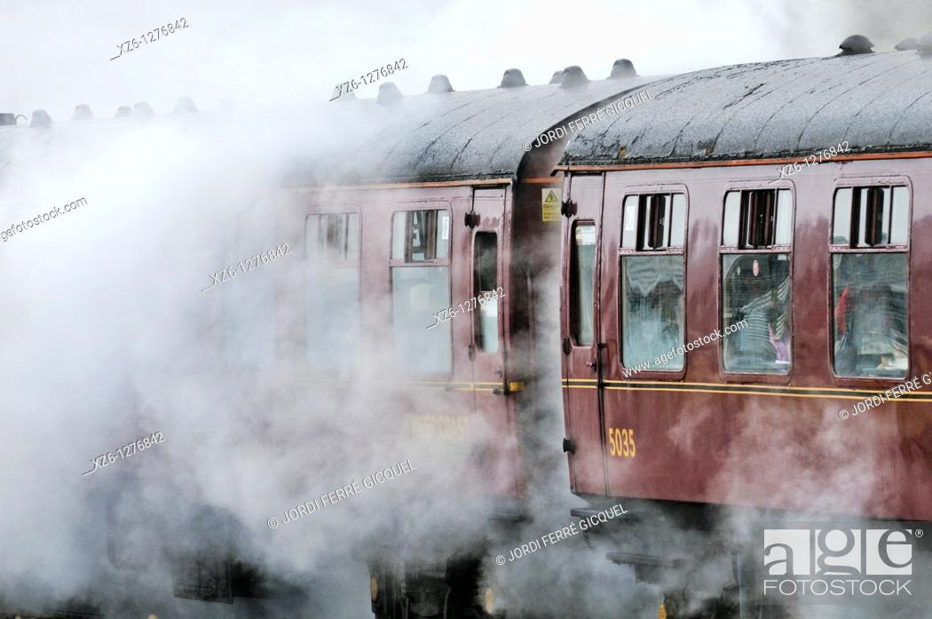 Stock Photo: The Harry Potter Steam Train, Mallaig, Highlands, Scotland, United Kingdom, Europe.