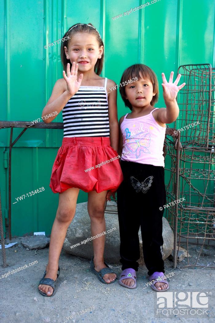 Stock Photo: Kyrgyz girls from Karakol.