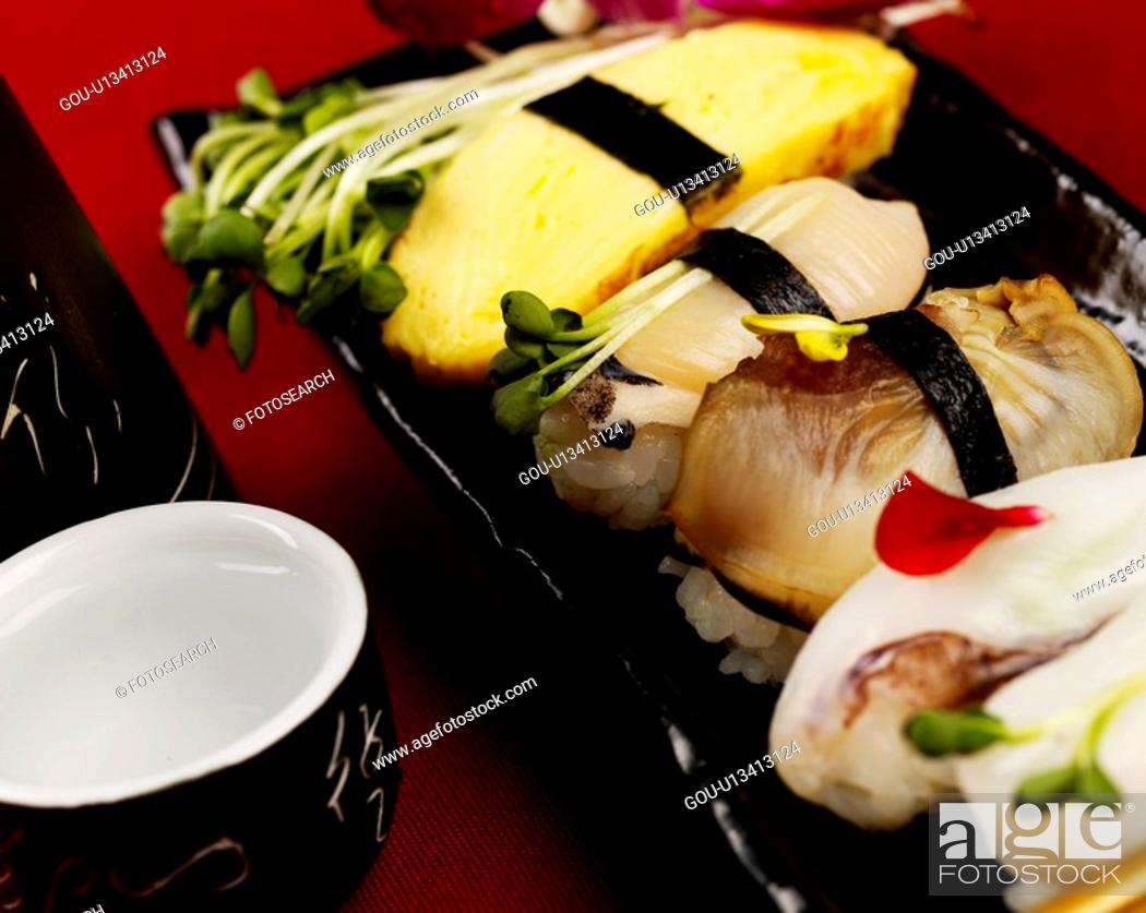 Stock Photo: alcohol, plate, sake cup, decoration, food styling, clam sushi, sushi plate.