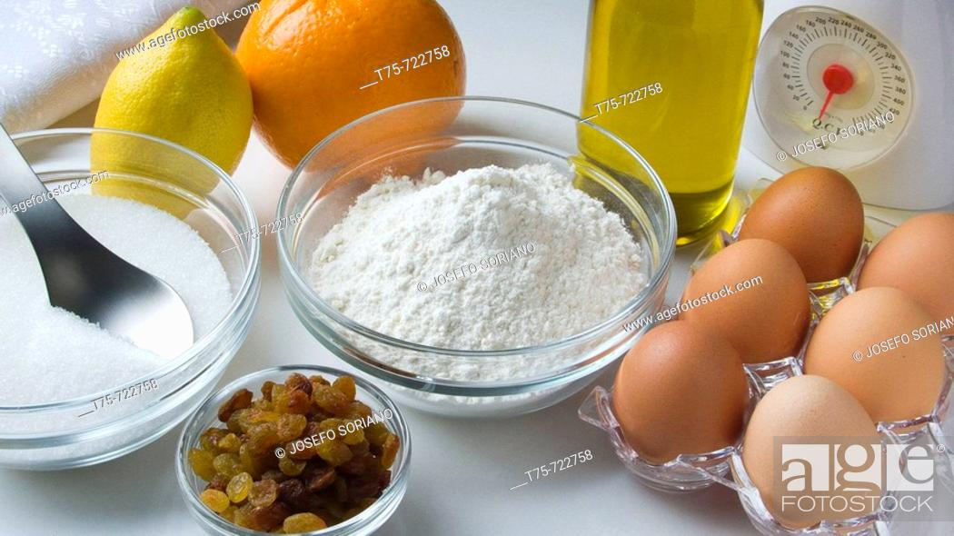 Stock Photo: Ingredients to make pastries.