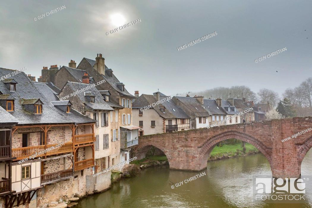 Stock Photo: France, Aveyron, Lot Valley, Espalion, stop on the Way of St James, listed as World Heritage by UNESCO, the Old Bridge on the river Lot.