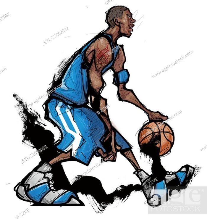 Stock Photo: Basketball player dribbling ball.
