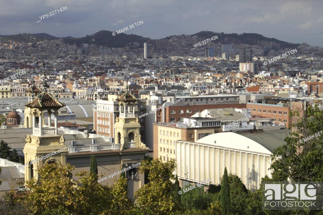 Stock Photo: Barcelona cityscape view from Montjuic.