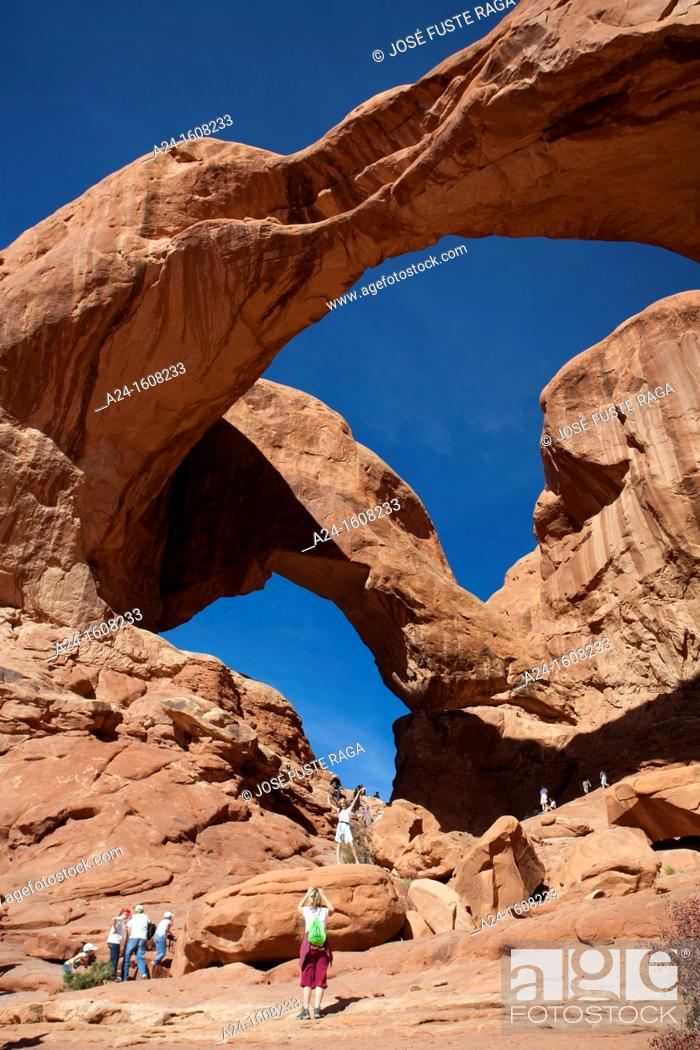 Stock Photo: USA-Utah-Arches National Park-Double Arch.