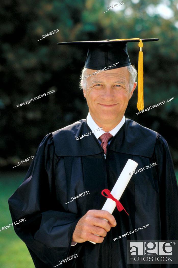 Stock Photo: Senior graduate man.