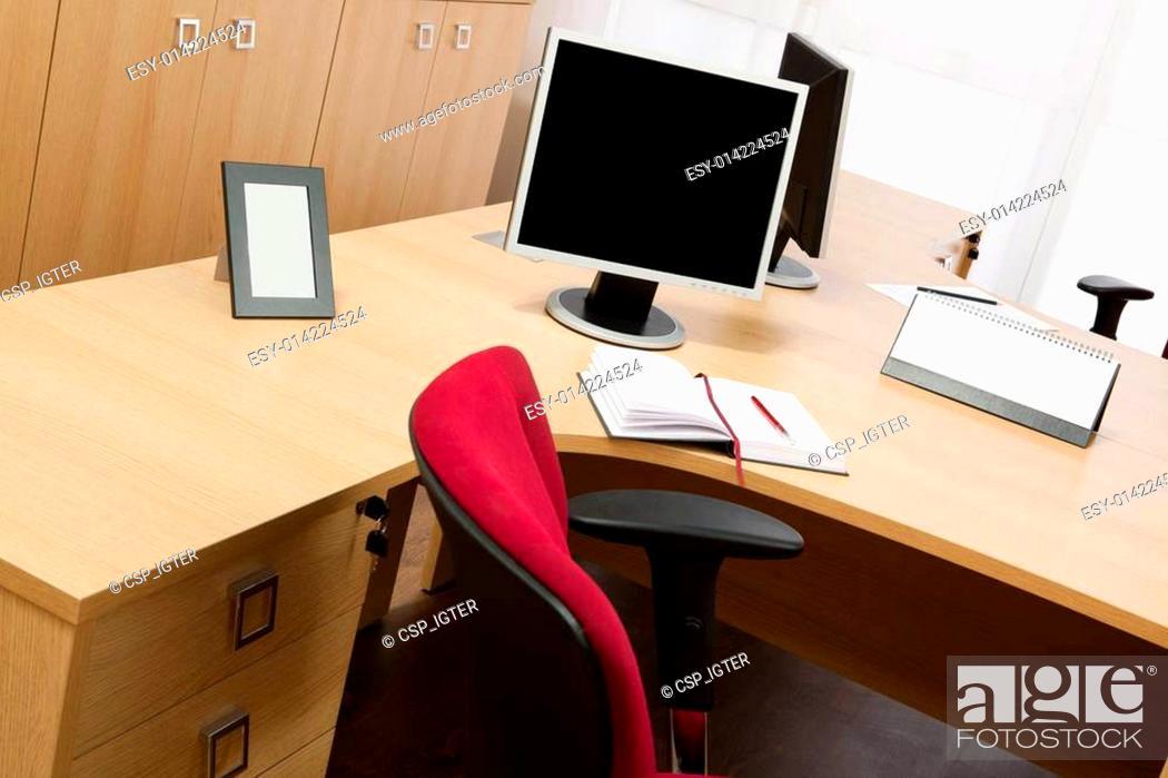 Stock Photo: monitors on the desks.