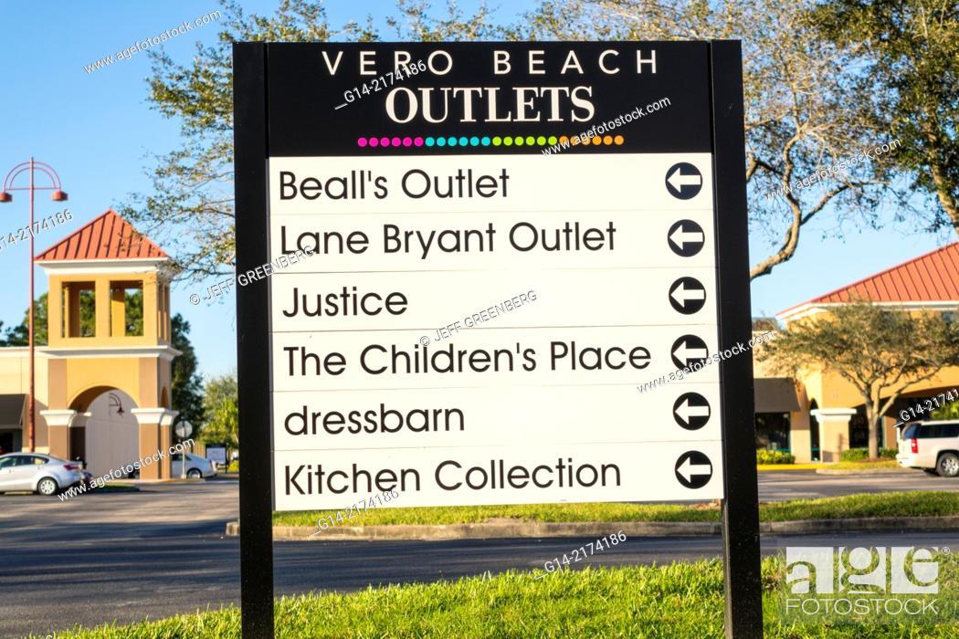 Stock Photo: Florida, Vero Beach, Vero Beach Outlets, shopping, sign,.