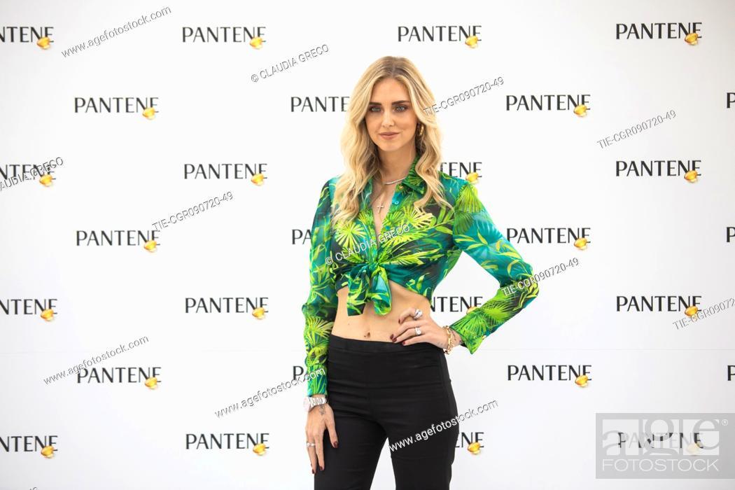 Stock Photo: Italian influencer Chiara Ferragni testimonial of the new spot Pantene Estate during the Pantene digital event in Milan, ITALY-09-07-2020.