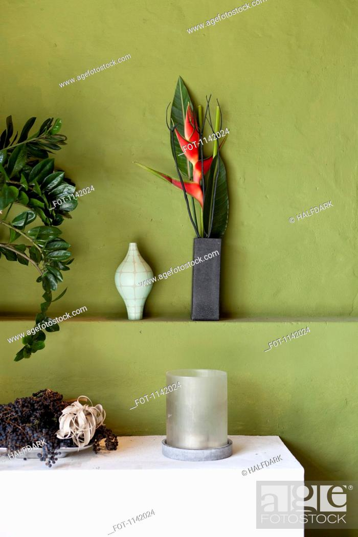 Stock Photo: Detail of flowers, vases, plants and other interior objects.