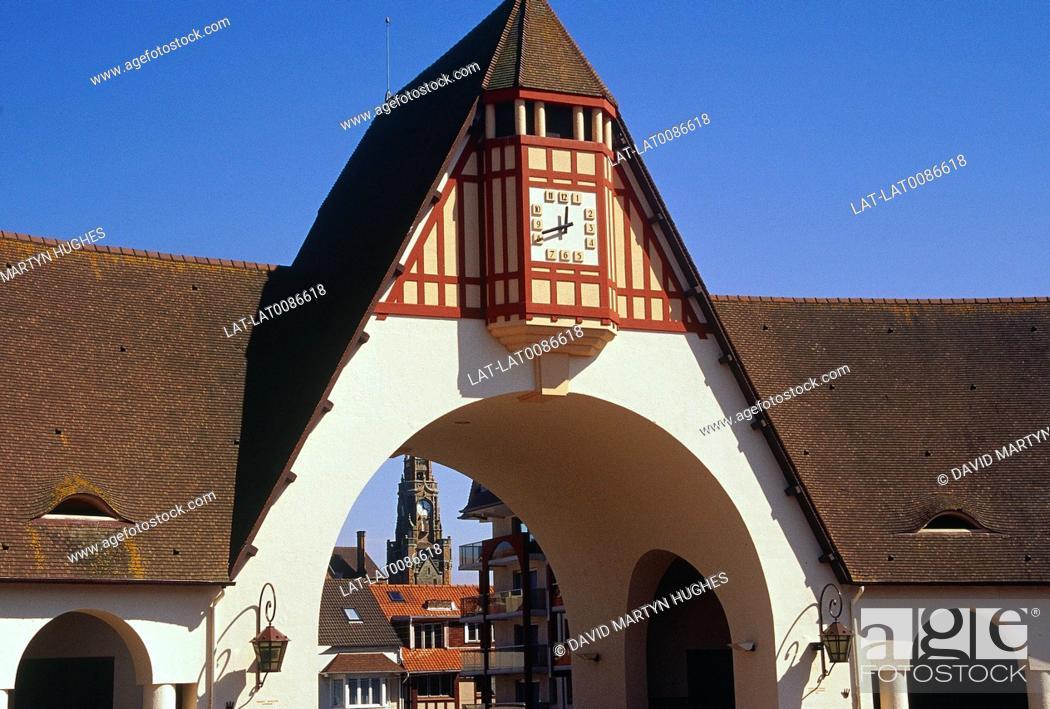 Pas de Calais. Covered market. Arch. Clock. Shopping, Stock Photo ...