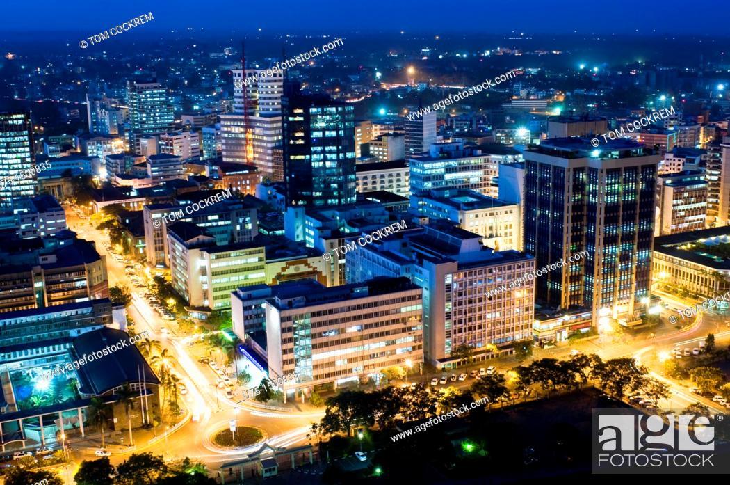 Stock Photo: Aerial view of city at night looking northeast nairobi kenya.