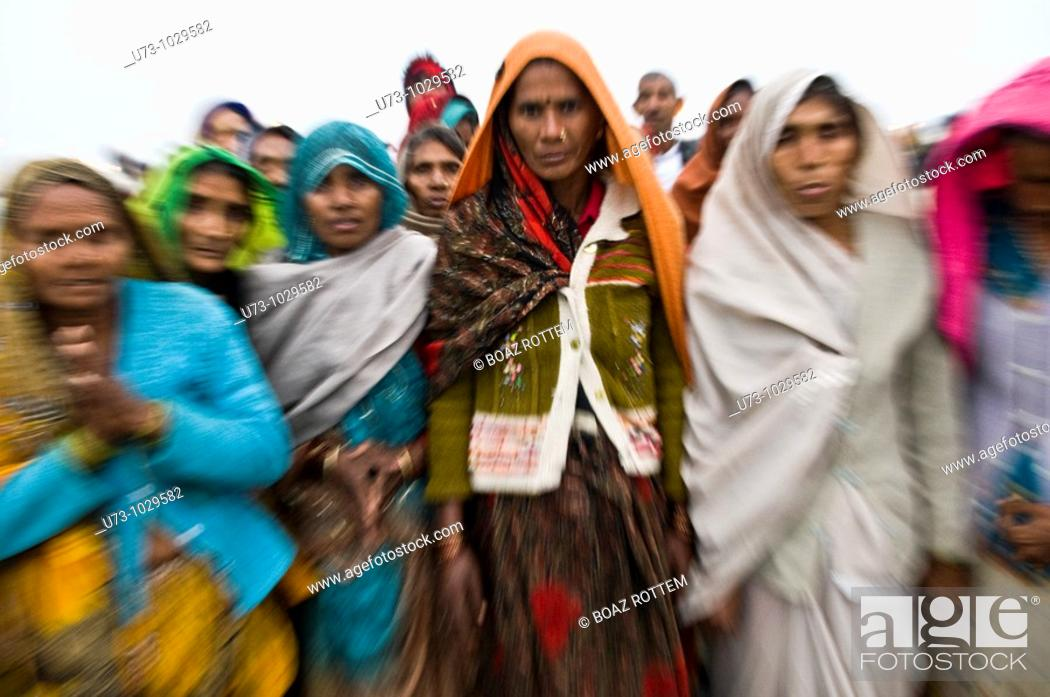 Stock Photo: Hindu pilgrims during the annual Gangasagar mela in West Bengal.