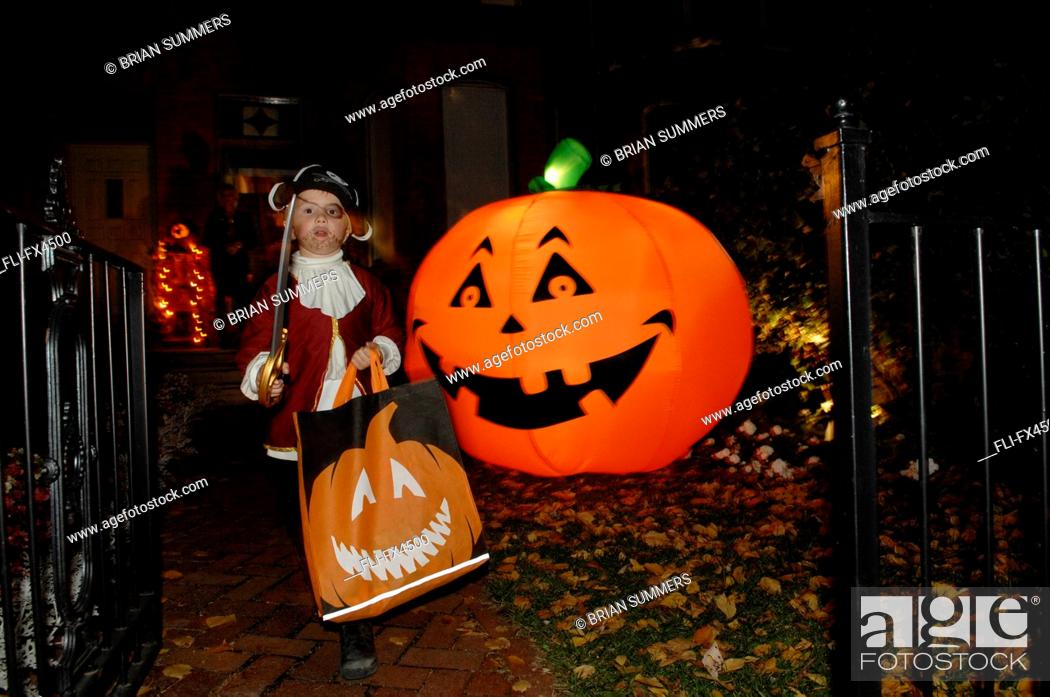 Stock Photo: Boy Dressed in Pirate Costume for Halloween.