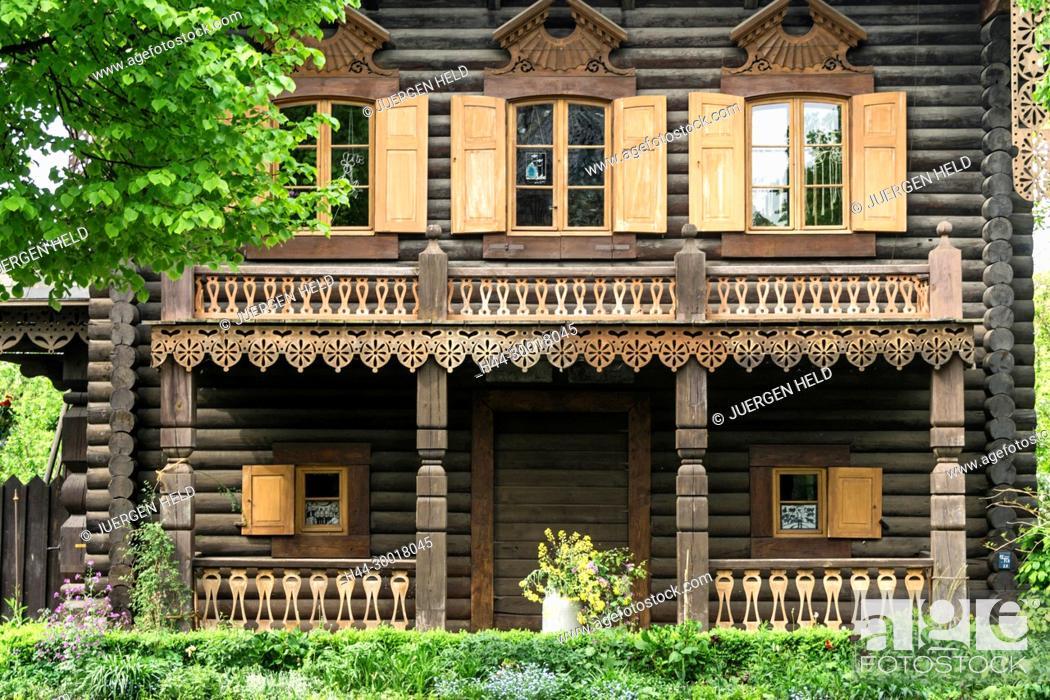 Stock Photo: Germany, Brandenburg, Potsdam, Russian Colony Alexandrowka , Block House, East Germany.